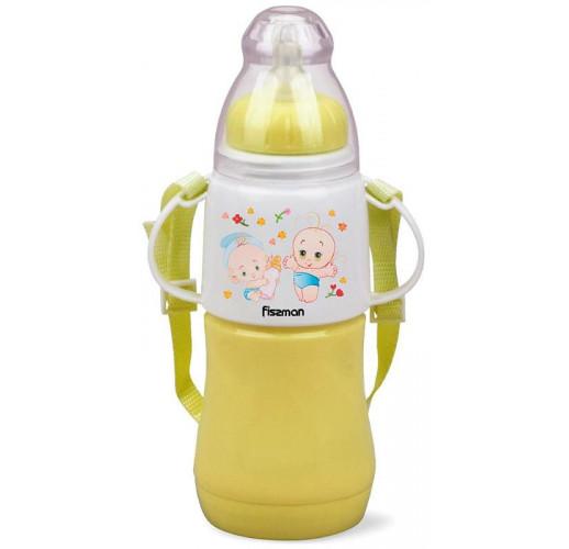 """Бутылочка детская для кормления Fissman Babies """"Малыши"""" 230мл с ремешком, желтая FN-7957"""