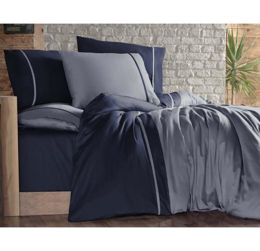 Cotton Satin 200 х 220 см Duet Style Grey-Navy Blue
