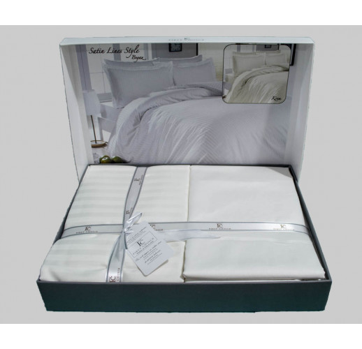 Cotton Satin 200 х 220 см Lines Beyaz