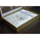 Велюрова скатертина з мереживом Maison 160×350 Eliza, кремова