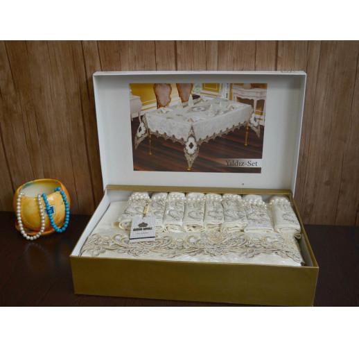 Велюрова скатертина  Maison 160×300 + 12 серветок 35х35 Yildiz Set