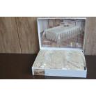 Велюрова скатертина з мереживом Haspen 160×300 cм Kumsal, кремова