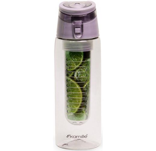 Бутылка для воды Kamille Fruit 660мл пластиковая с отсеком для фруктов KM-2303