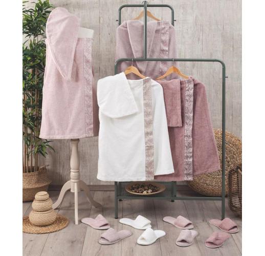Женский набор полотенец Pupilla Flor для сауны: полотенце-юбка на липучке, чалма, тапочки