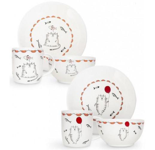 "Детский набор ""Cat story"" 3 предмета, стеклокерамика ST-1591-11"