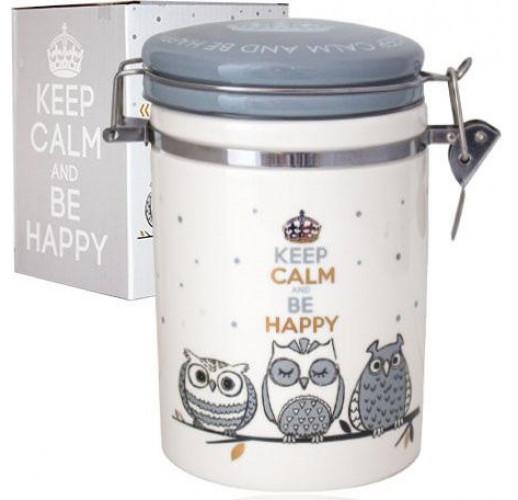 Банка керамическая Be Happy «Совушки» 1.2л, крышка с защелкой ST-631-18
