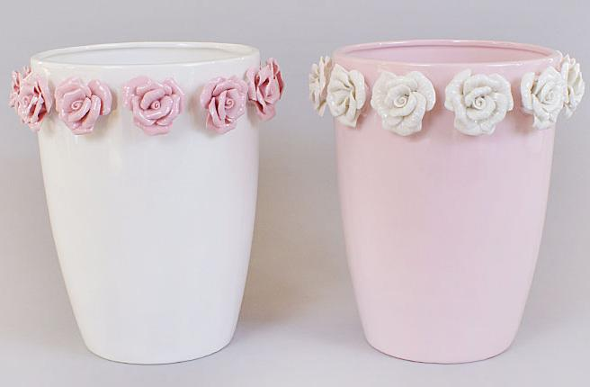 "Ваза фарфоровая Bona 21см ""Золотой сад"" Wide pink glass with roses"